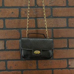 ANN TAYLOR Vintage Leather Woven Chain Strap Purse